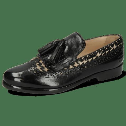 Loafers Selina 3 Tweed Black White