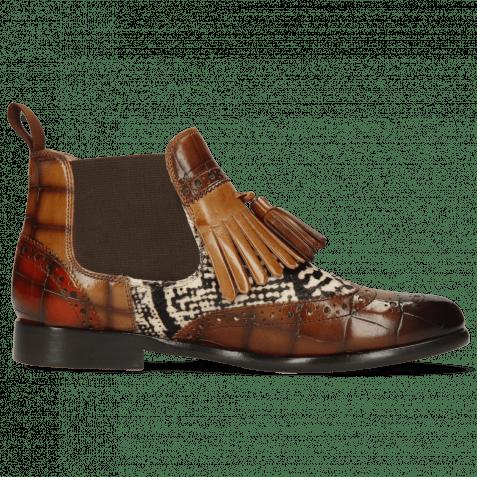 Ankle boots Selina 5  Turtle Wood Sand Winter Orange Hairon Snake