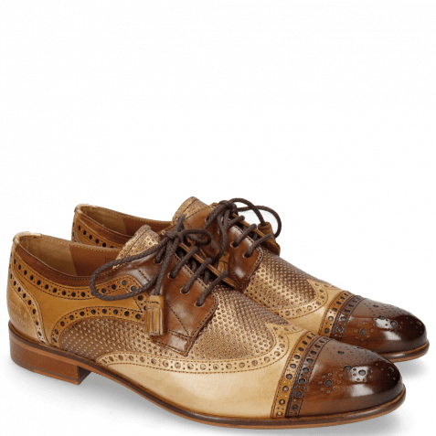 Derby shoes Henry 7 Mid Brown Tan Nude Cherso Perfo Bronze