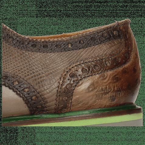 Derby shoes Matthew 33 Crock Stone Dice Electric Green Lizzard Ostrich