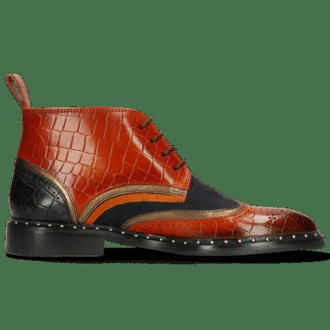 Ankle boots Sally 30 Crock Winter Orange Nappa Aztek Bronze Sheep Suede Navy