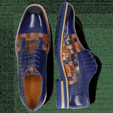 Derby shoes Eddy 11 Woven Multi Little Croco Midnight