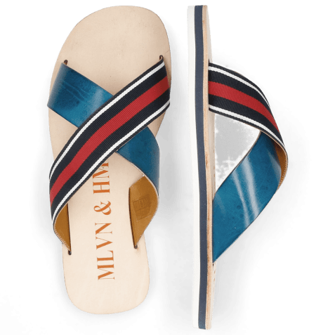 Mules Sam 5 Mid Blue Strap Red Blue White