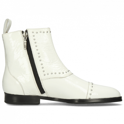 Ankle boots Susan 45 Soft Patent White Rivets