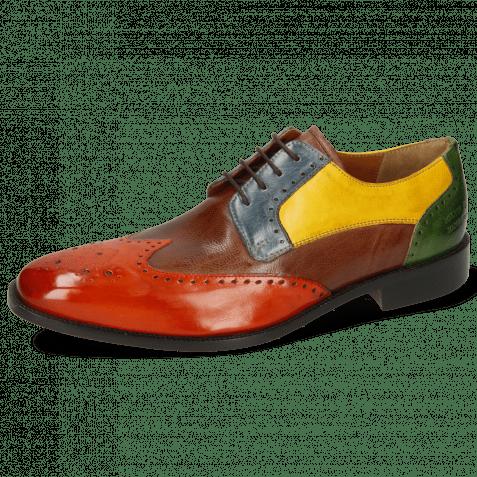 Derby shoes Jeff 14 Imola Winter Orange Mink Mock Navy Indy Yellow Harris Green