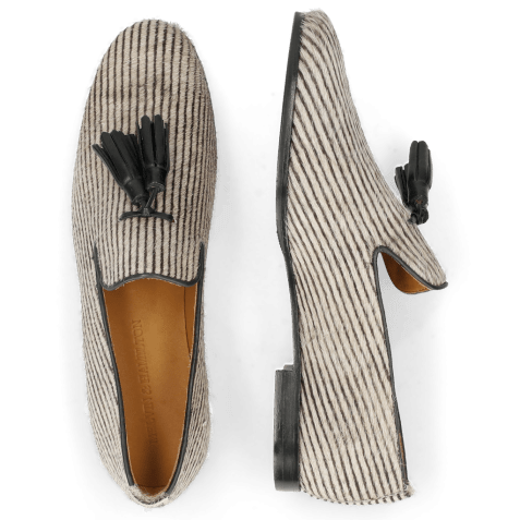 Loafers Scarlett 20 Hairon Stripes Black White