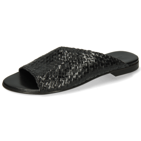 Mules Hanna 40 Woven Goat Black Footbed