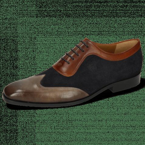 Oxford shoes Rico 8 Rio Stone Suede Pattini Perfo Navy Mid Brown