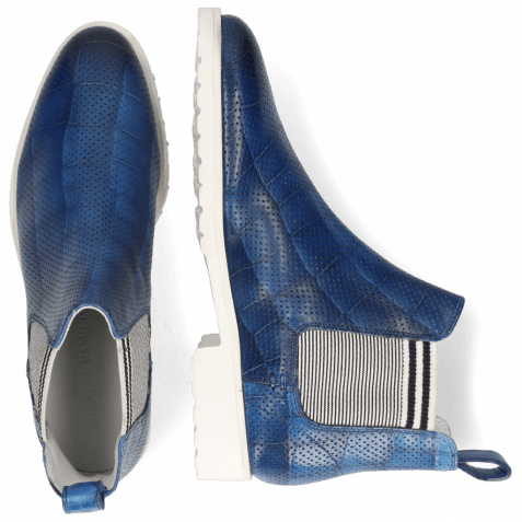 Ankle boots Susan 10  Vegas Turtle Perfo Mid Blue Elastic Oxford