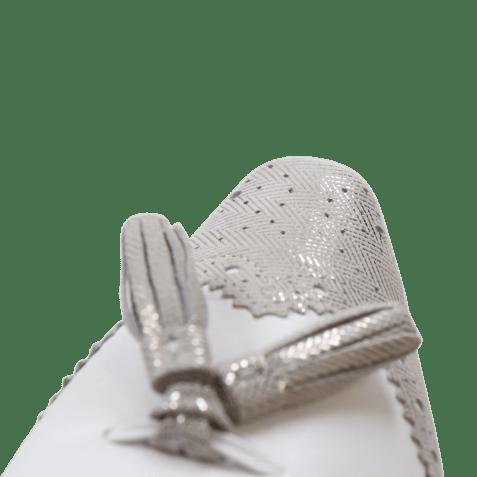 Mules Joolie 6 Java Metalic Silver Kid White LS Natural
