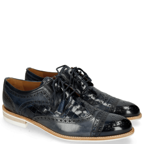 Derby shoes Henry 7 Navy Wind Sky Blue Woven