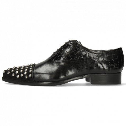 Oxford shoes Lance 23 Suede Pattini Crock Black Rivets