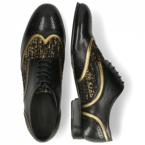 Derby shoes Sally 15 Black Venito Gold Textile Tweed Black Gold