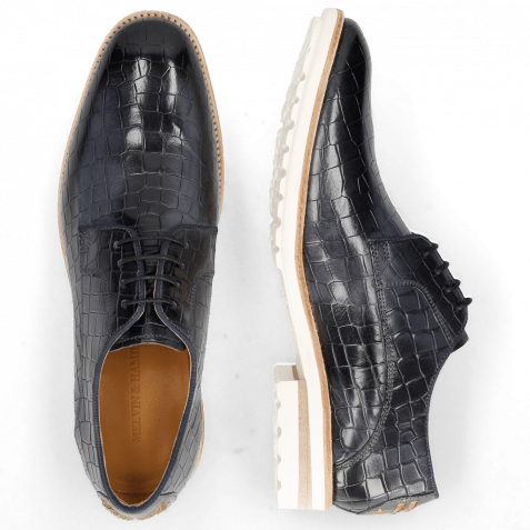 Derby shoes Eddy 8 Crock Navy Embroidery Officer Gold