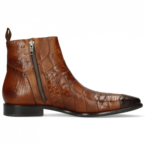 Ankle boots Elvis 76 Baby Croco Mid Brown Lizzard