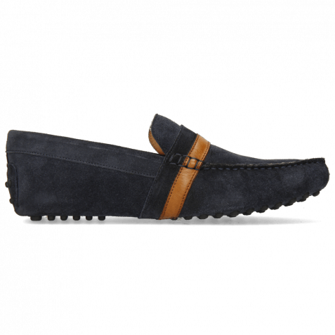 Loafers Nelson 6 Suede Pattini Navy Wood