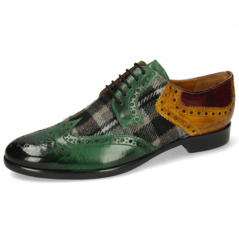 Derby shoes Clint 19 Pine Textile Crayon Olivine Wine