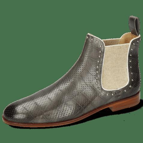 Ankle boots Susan 37 Turtle Vegas Perfo Grigio Elastic Lino