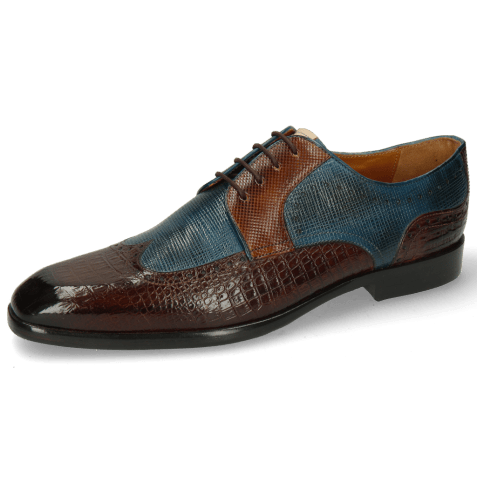 Derby shoes Elyas 2 Baby Croco Mid Brown Haina Blue