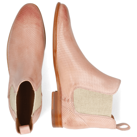 Ankle boots Susan 10 Imola Perfo Pale Rose Elastic Lino