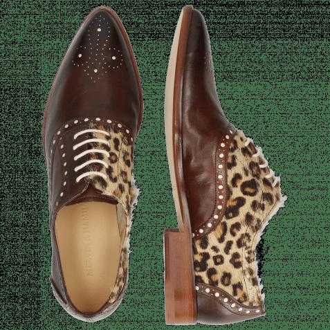 Oxford shoes Jessy 61 Imola Mogano Hairon Leo Beige Underlay