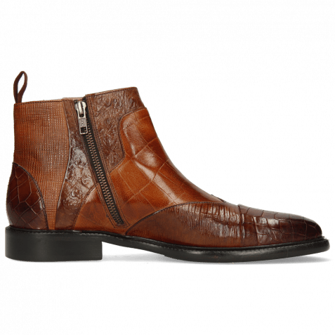 Ankle boots Henry 29 Crock Brown Guanna Wood Turtle Tan Ostrich Haina