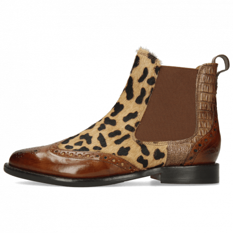 Ankle boots Selina 29 Tobacco Hairon Lince Beige Baby Croco Chestnut