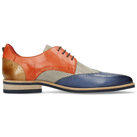 Derby shoes Dave 2 Imola Moroccan Blue Perfo Digital Earthly Sand