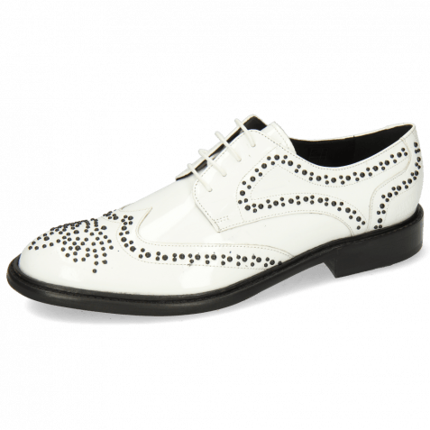 Derby shoes Sally 53 Patent White Rivets