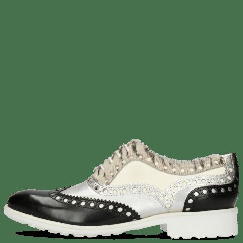 Oxford shoes Amelie 87 Vegas Black Talca Silver Hairon Young Zebra