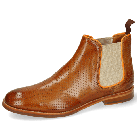 Ankle boots Amelie 4 Pavia Perfo Tan Binding Fluo Orange