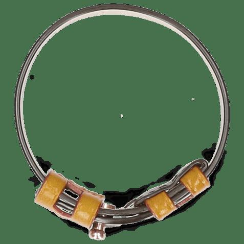 Bracelets Archie Dark Brown Loops Yellow Studs Nickle