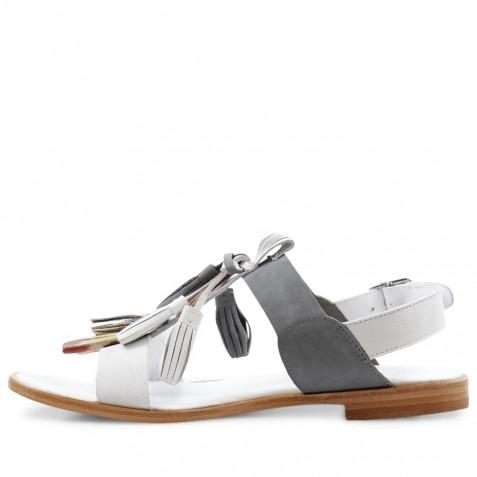 Sandals Sandra 17 Crust White Nubuk Grey Tassel Multi LS