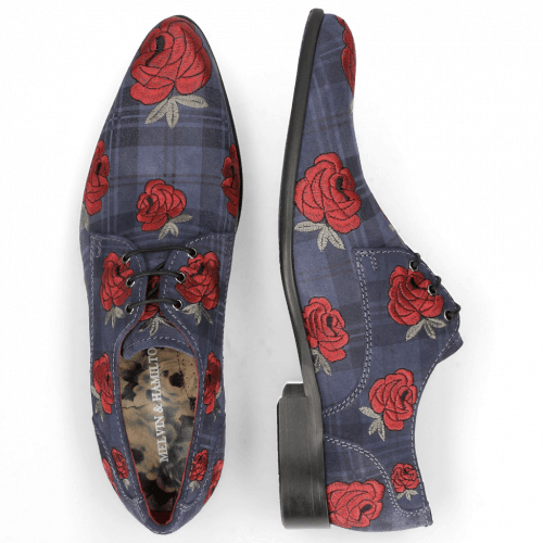 Derbies Toni 1 Suede Check Navy Embroidery Roses