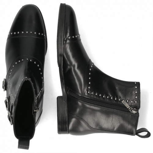 Bottines Susan 45 Soft Patent Black Rivets Buckle