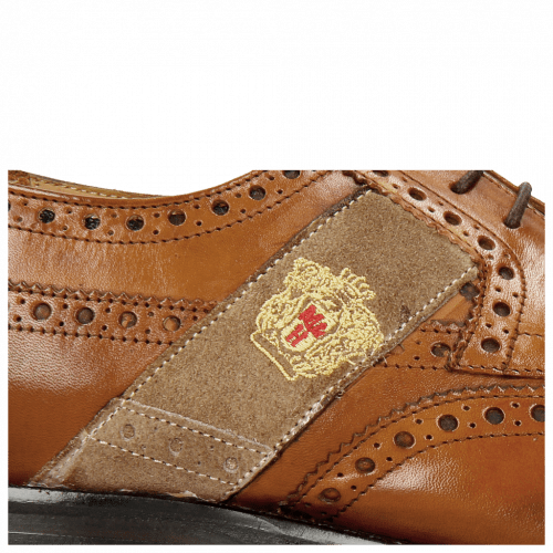 Derbies Eddy 25R Wood Strap Beige Embrodery