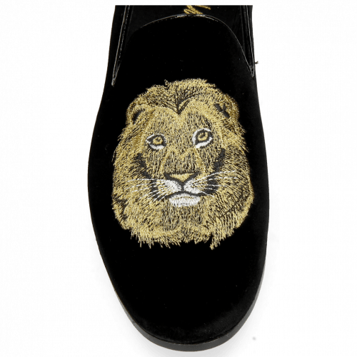 Mocassins Scarlett 6 Velluto Black Embroidery Lion
