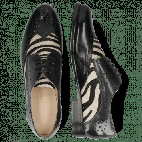 Derbies Selina 41 Imola Black London Fog Hairon Zebra