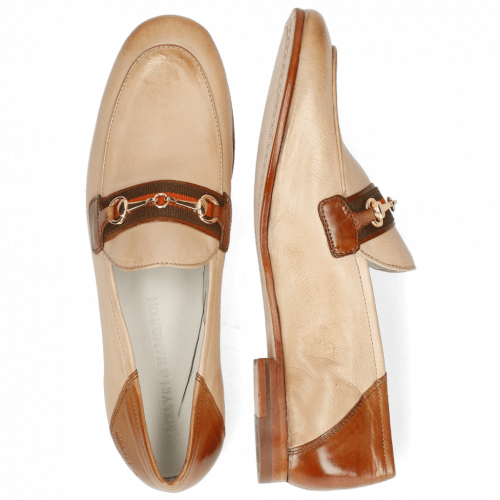 Mocassins Scarlett 45 Glove Nappa Ivory Tan Trim Gold