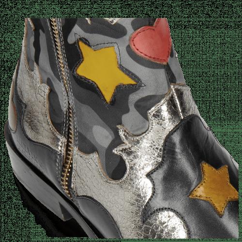Bottines Marlin 12 Navy Cromia Gunmetal Camo Satin Blue Stars Yellow Heart Ruby