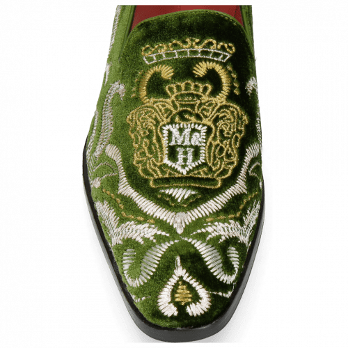 Mocassins Prince 2 Velluto Pine Embrodery Gold