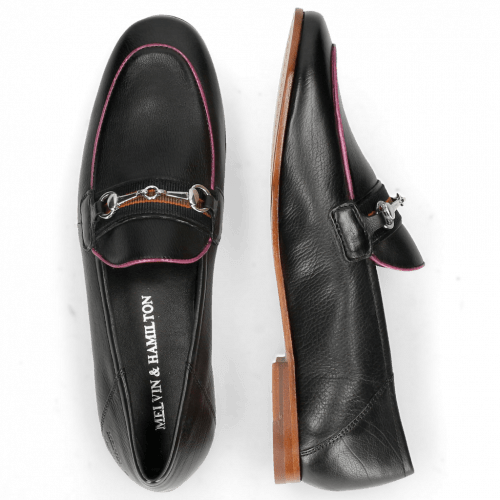 Mocassins Scarlett 45 Glove Nappa Black Binding Fluo Pink