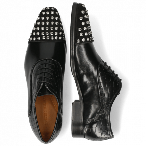 Richelieu Lance 23 Suede Pattini Crock Black Rivets