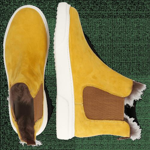 Bottines Hailey 2 Sheep Suede Yellow Elastic Glitter Fur