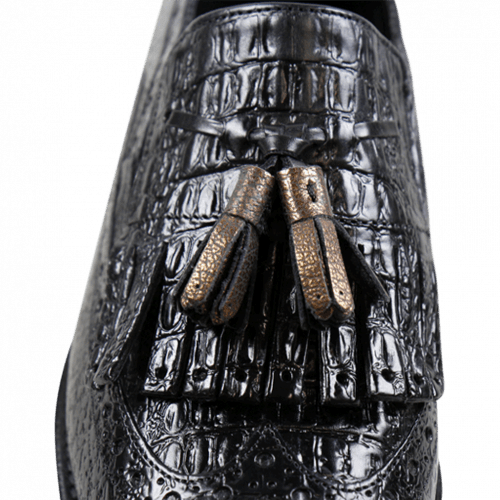 Mocassins Amy 10 Baby Croco Black Tassel Bronze Elastic Cooper Cut Angel Black