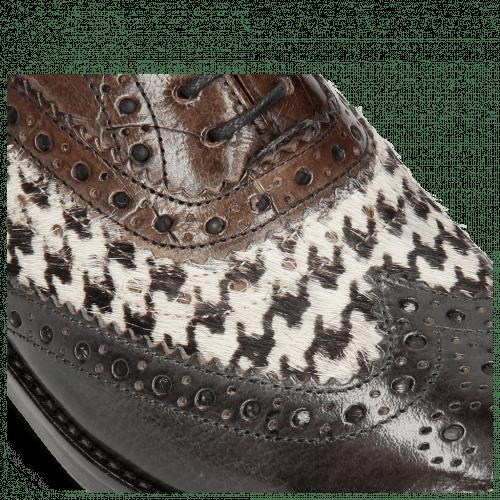 Richelieu Amelie 10 London Fog Hairon Tweed Black White Turtle Stone