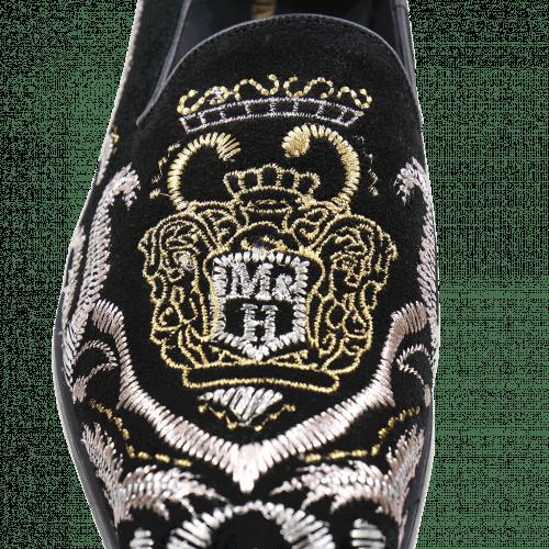 Mocassins Prince 2 Suede Black Embrodery Metalic LS