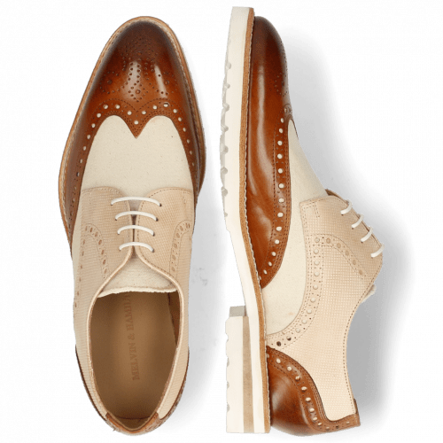 Derbies Kane 2 Tan Dice Beige Canvas White