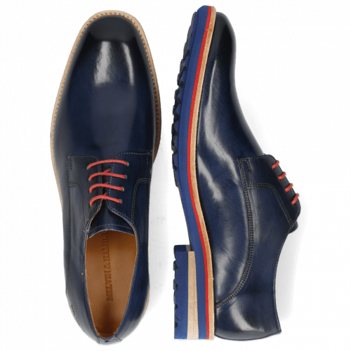 Derbies Eddy 8 Navy Laces Red