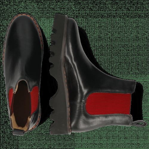 Bottines Megan 3R Black Elastic Red